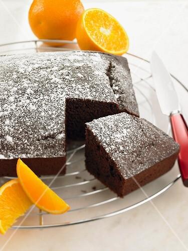 Chocolate cake with oranges