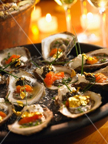 Oysters with smoked salmon and lumpfish roe