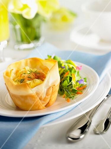 Soufflé in a filo pastry basket