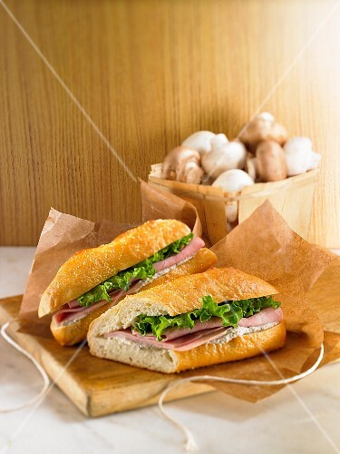 Ham and lettuce sandwich with hummus