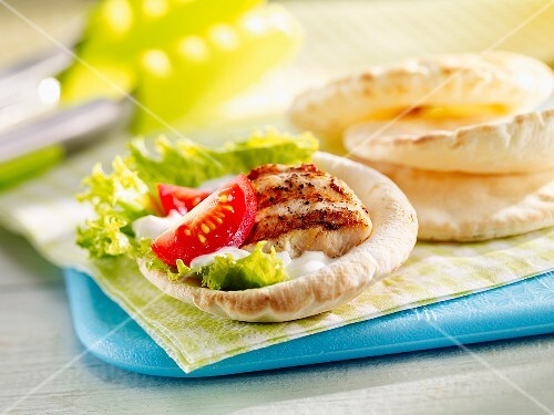 Pita bread with grilled turkey