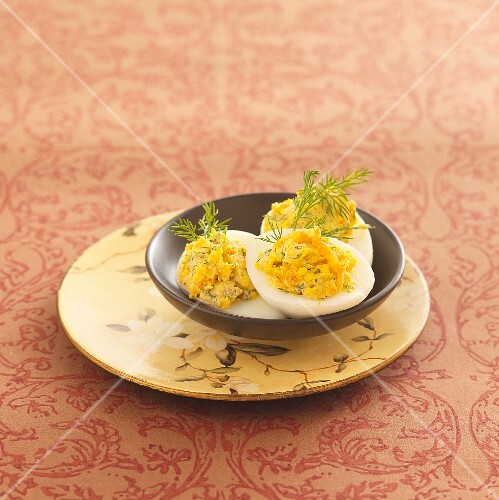 Stuffed eggs with salmon mousse