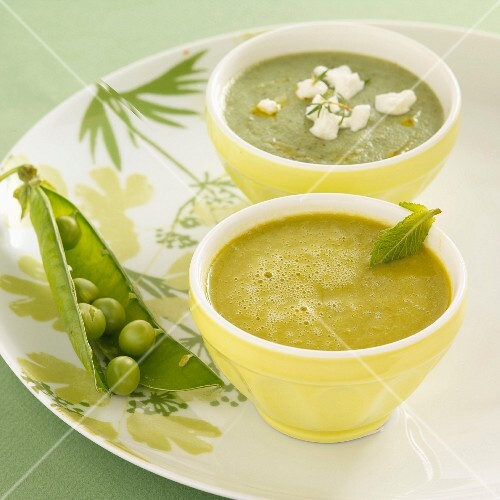 Cream of courgette soup with goat's cream cheese, and cream of pea and lettuce soup with mint