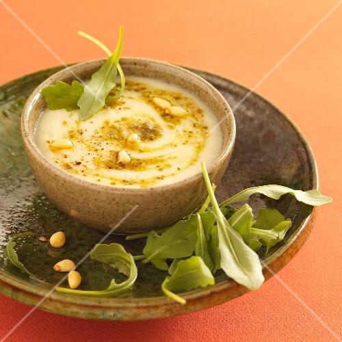 Cream of potato soup with rocket pesto