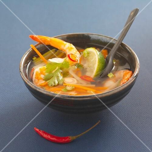 Thai prawn soup with lemongrass