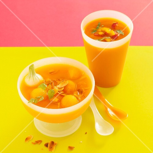 Iced melon soup with roasted almonds, and iced pepper soup