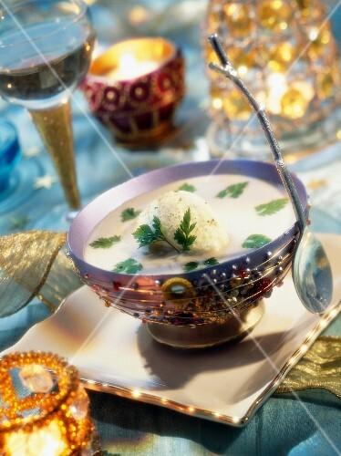 Porcini mushroom soup with chervil