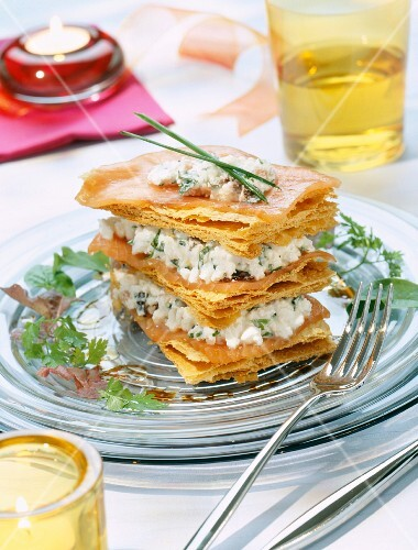 A layered tartlet with smoked salmon and cream cheese
