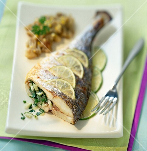Seabream with limes, and an aubergine compote