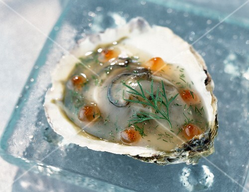 An oyster in aspic with salmon roe