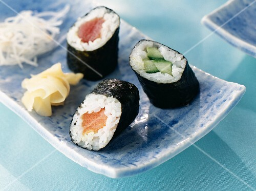 Maki with red tuna fish, salmon and cucumber