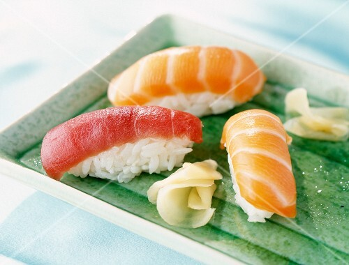 Sushi with red tuna and salmon