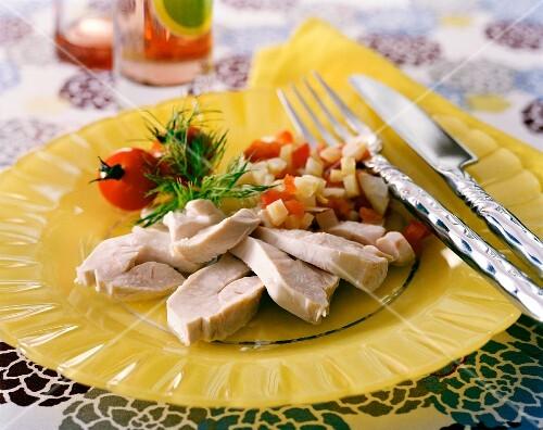 Steamed chicken with fennel