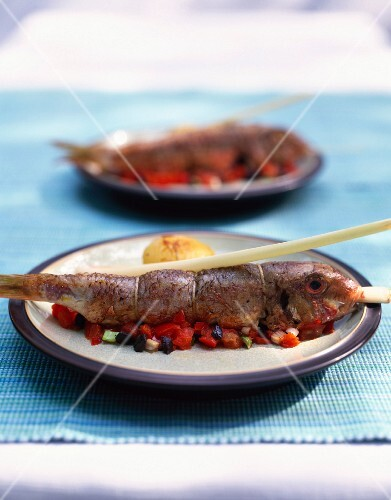 Grilled red mullet with lemongrass and a red pepper medley