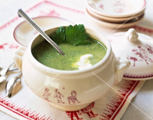 Cream of spinach soup in a soup tureen