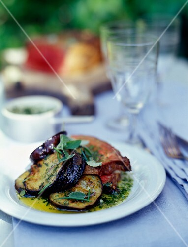 Roast beef with grilled eggplants and herb sauce