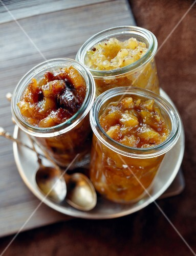 Apple chutney,mango chutney and dried fruit chutney
