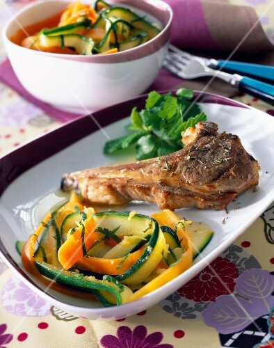 Lamb chop with sliced vegetables