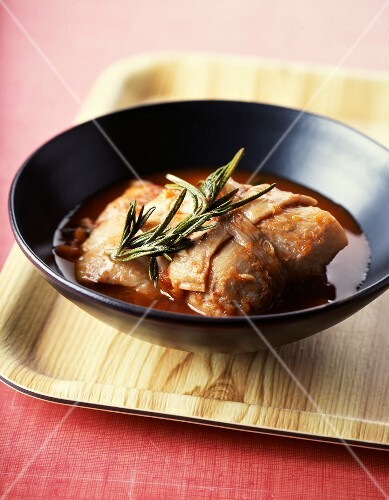 Tripoux with tomato sauce and rosemary
