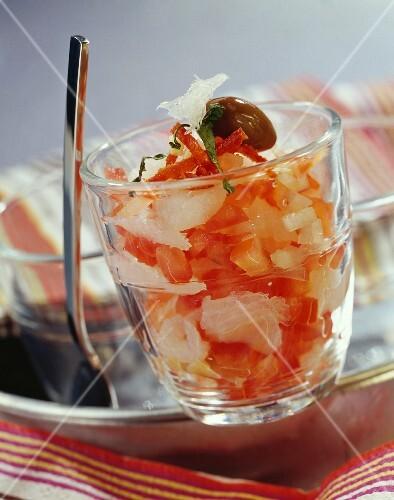Salt cod and tomato tartare