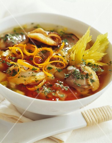 Clam, orange and celeriac soup