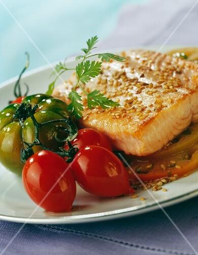 Thick trout steak in sesame crust