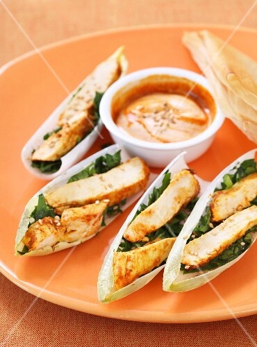 Chicken tikka served on chicory leaves