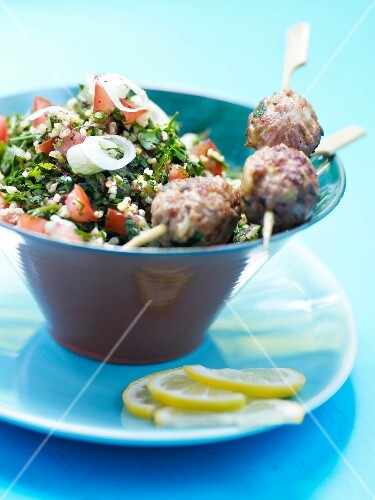Lebanese tabbouleh and kefta brochettes
