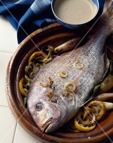 Seabream with anchovy sauce