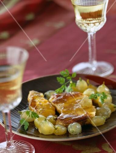 Duck foie gras escalope with grapes