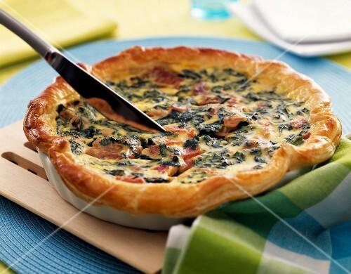 Spinach and ham quiche