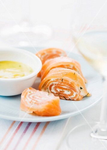 Smoked salmon and soft white cheese sliced roll