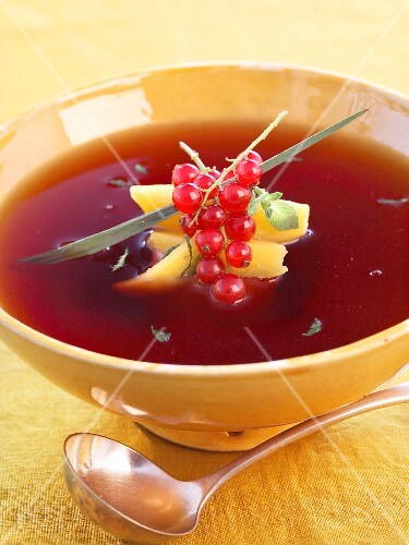 Mango and redcurrant soup