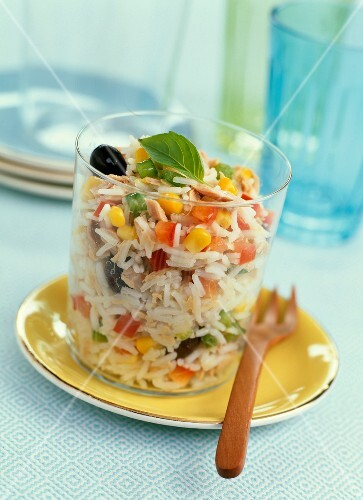 Rice,corn and black olive salad