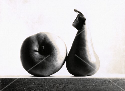 Still life with apple and pear