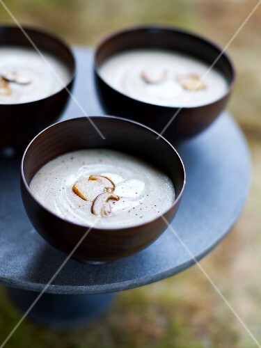 Bowls of creamy cep soup