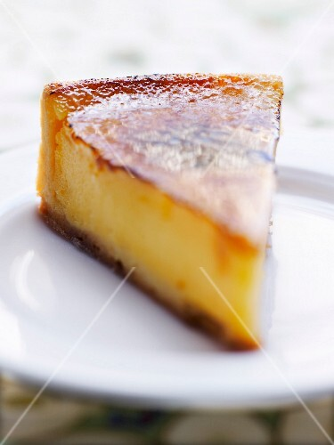 Portion of baked egg custard