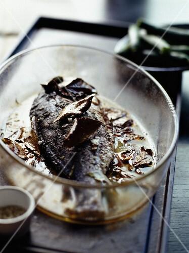 Oven-baked seabream