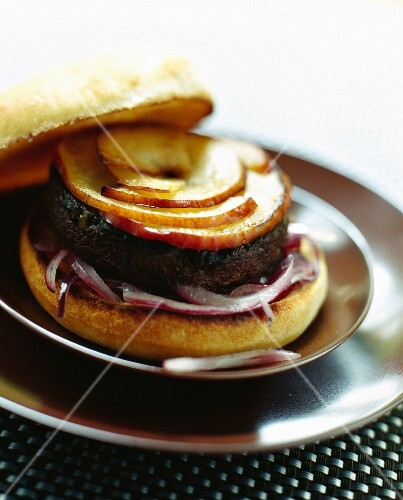 A black pudding burger with apple
