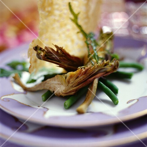 Grilled artichokes, green beans and Parmesan wafers