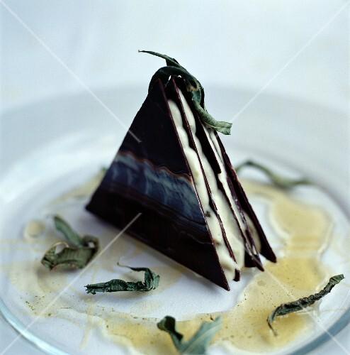 Crispy chocolate corner with vanilla mousse