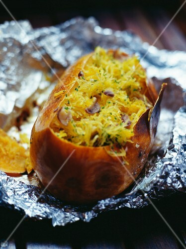 A baked potato filled with vermicelli and ginger