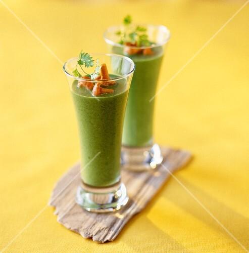 Cream of corn lettuce soup with mushrooms