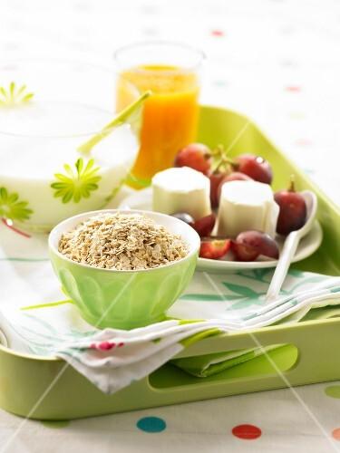 Well-balanced breakfast tray