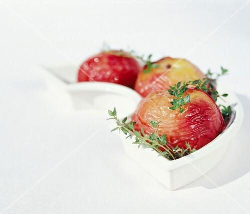 Roasted white peaches with lemon thyme