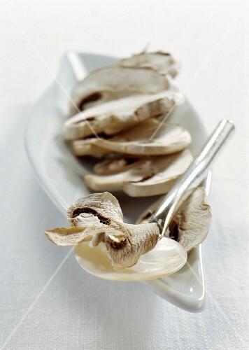 Finely sliced porcini mushrooms