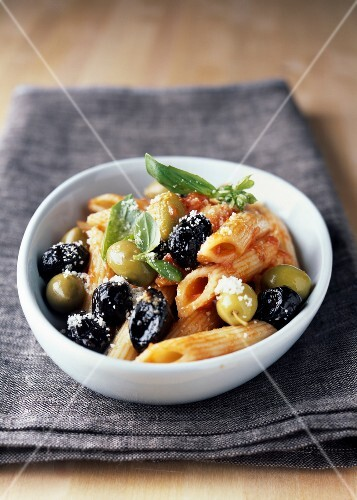 Penne with green and black olives
