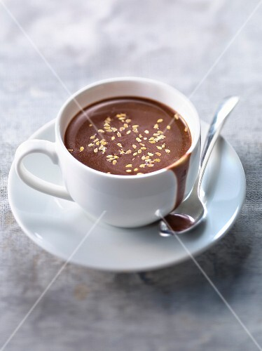 Rice milk hot chocolate with roasted sesame seeds