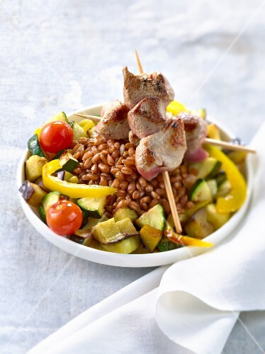 Summer spelt Couscous with lamb skewers