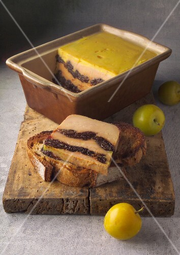 Prune,mirabelle plum and Foie gras terrine